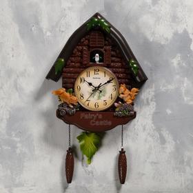 "Часы настенные с кукушкой ""Белочки"", 4 шт 3ААА, плавный ход, 53х7х35 см, коричневые"