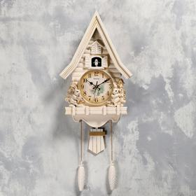 "Часы настенные с кукушкой ""Зайчики"", 2 шт АА, 2 шт R14, плавный ход, 62х8х32 см"