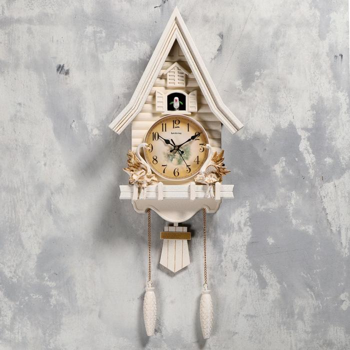 "Часы настенные с кукушкой ""Лебеди"", плавный ход, 63х8х32 см, белые - фото 7931280"