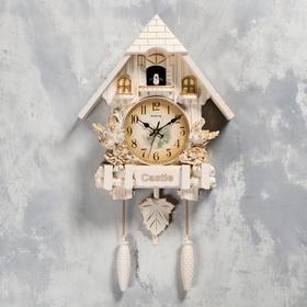 """Часы настенные с кукушкой """"Замок с птицами"""", 2 шт  АА, 2 шт R14, плавный ход, 63х8х32 см"""