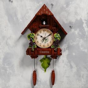 """Часы настенные с кукушкой """"Виноградная лоза"""", плавный ход, 63х10х36 см, коричневые"""