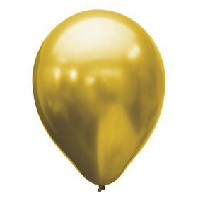 """Шар латексный 11"""", хром, набор 25 шт., цвет золотой"""