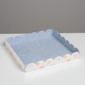 """Pastry box with PVC lid """"Snowflakes"""", 21 × 21 × 3 cm"""