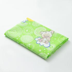 """Пеленка Collorista """"Мишки"""" 70х120 см, цв.зеленый, бязь 120 гр/м2, 100% хл"""