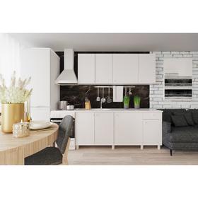 Кухонный гарнитур «Поинт», 1,8м, ЛДСП, столешница «Антарес» 28 мм, без мойки, цвет белый