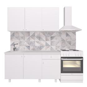 Кухонный гарнитур «Поинт», 1,5 м, ЛДСП, столешница «Антарес» 28 мм, без мойки, цвет белый