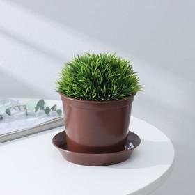 Горшок для цветов с поддоном 0,8 л, цвет коричневый