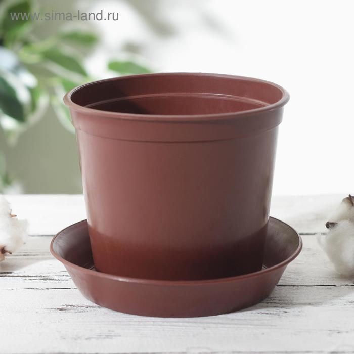 Flower pot with tray 1 l, brown