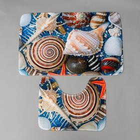 Набор ковриков для ванны и туалета «Ракушки» 2 шт, 79×49, 49×40 см