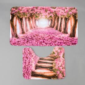 Набор ковриков для ванны и туалета «Вишня» 2 шт, 79×49, 49×40 см