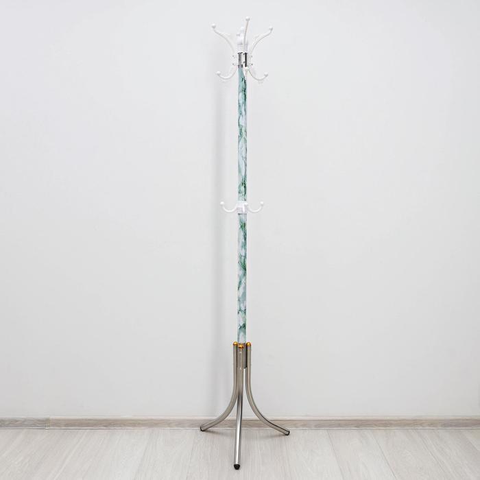 Вешалка напольная «Мрамор», 170 см цвет зелёный - фото 4641600