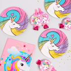 """Set of dishes for the holiday """"unicorn"""", tongues 6 PCs, tablecloth, plates 10 PCs"""