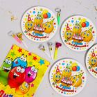 """Set of dishes for the holiday """"Funny smiles"""", tongues 6 PCs, tablecloth, plates 6 PCs"""