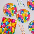 """Set of dishes for the holiday """"Balls"""", tubes 6 PCs, tablecloth, plates 6 PCs"""