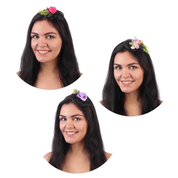 """Гавайский ободок с вуалью """"Цветы"""", цвета МИКС"""