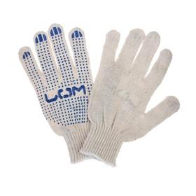 Перчатки, х/б, вязка 7 класс, 3 нити, размер 10, с ПВХ точками, белые Ош