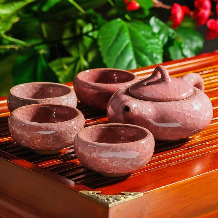 """Набор для чайной церемонии """"Искушение"""", 5 предметов: чайник 150 мл, чашка 50 мл, цвет розовый"""