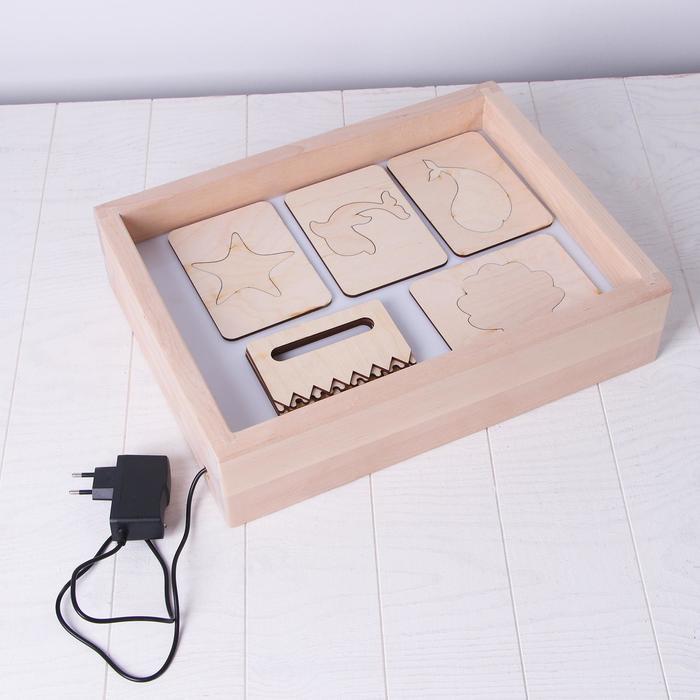 Планшет для рисования песком с белой подсветкой 30*40 см + гребень и трафарет