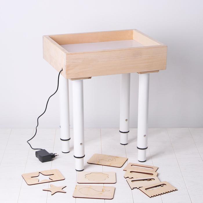 Стол для рисования песком с белой подстветкой 30*40 см + гребень и трафарет
