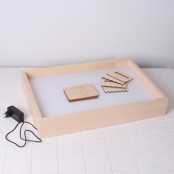 Планшет для рисования песком 40*60 см с белой подсветкой + гребень и трафарет