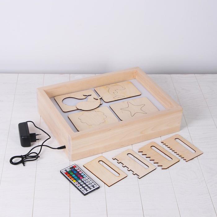 Планшет для рисования песком с цветной подсветкой 30*40 см + гребень и трафарет