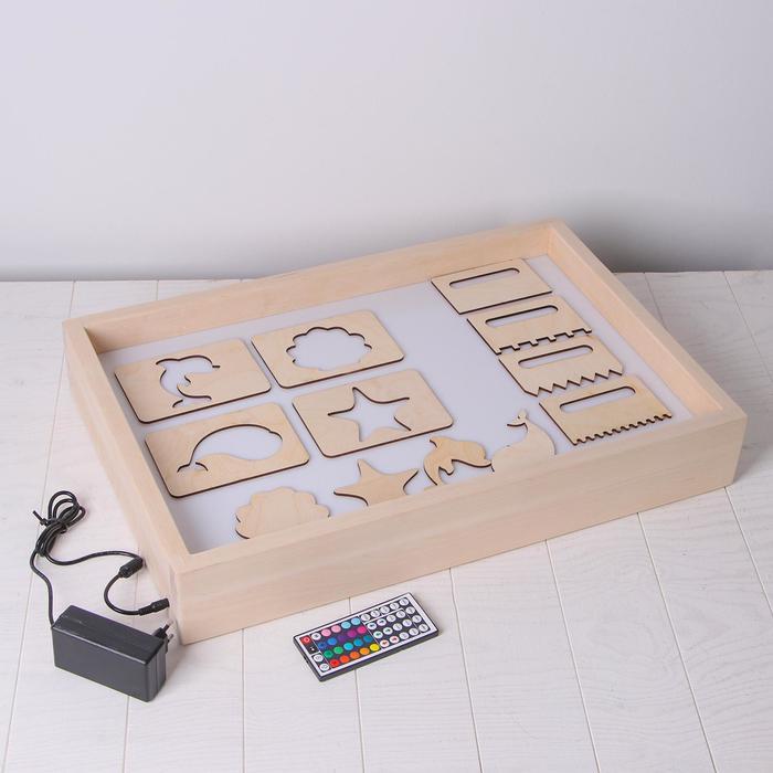Планшет для рисования песком с цветной подсветкой 40*60 см + гребень и трафарет