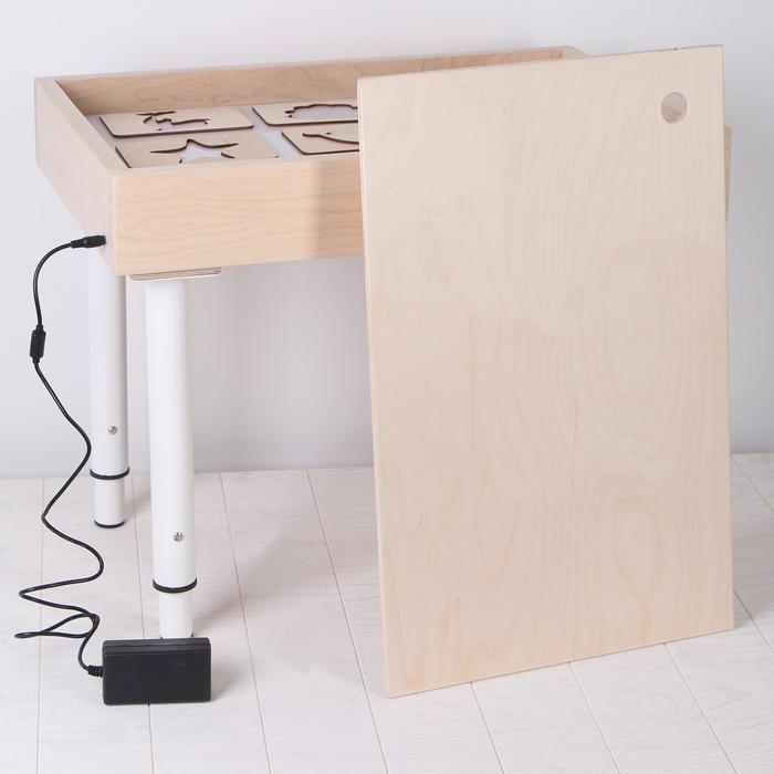 Стол для рисования песком с цветной подсветкой 40*60 см и крышкой + гребень и трафарет