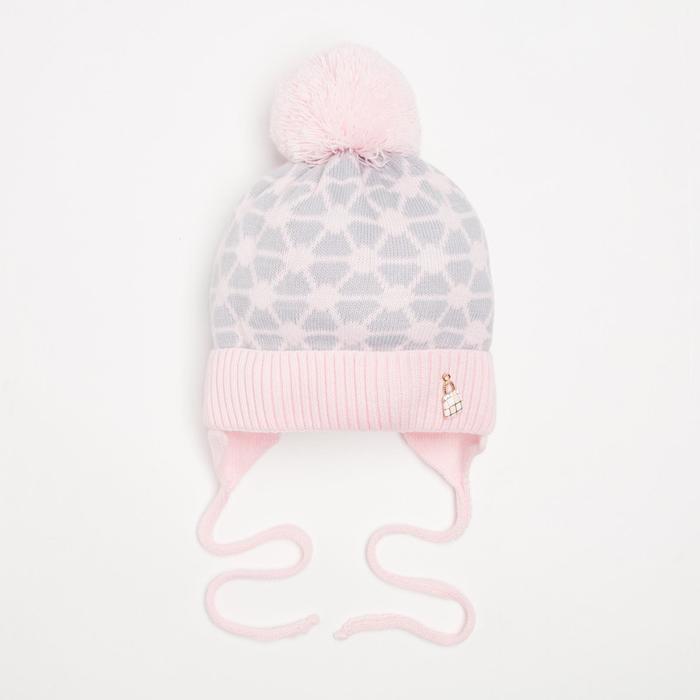 Шапка для девочки, цвет розовый, размер 40-42 - фото 1963459