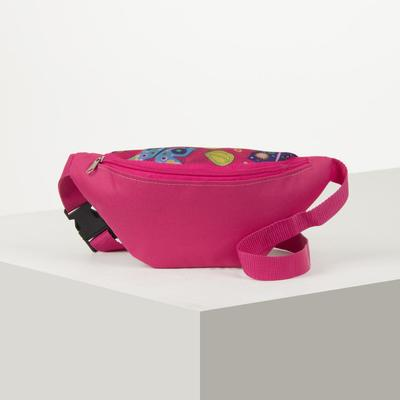7986 P-600 / D waist Bag, 25*6*13, otd zipper, belt length, pink / butterfly