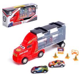 Грузовик «Перевозчик», 2 металлические машинки и дорожные знаки в комплекте