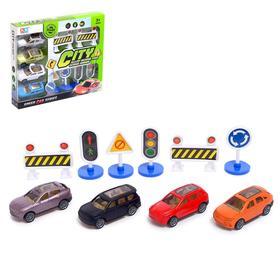 Набор игровой «Город», 4 инерционные машины и дорожные знаки