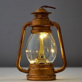 "Ночник ""Фонарь"" LED от батареек золото/серебро 6х10,5х15 см"