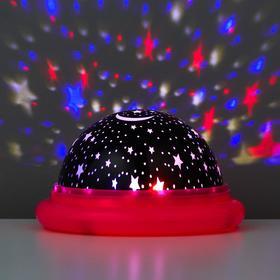 """Ночник-проектор """"Летающая тарелка"""" LED 2 режима от батареек 3ААА/USB МИКС 11х11х6,5 см"""
