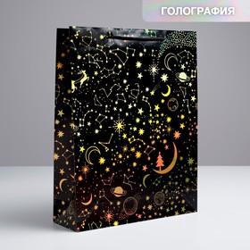 Пакет голографический вертикальный «С Новым Годом!», L 31 × 40 × 11,5 см