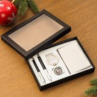 Gift set 4in1 (2 pens, business card holder, compass) mix