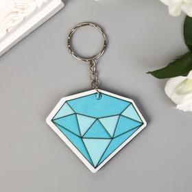 "Keychain plastic textile ""Diamond"" glitter 5x5, 6 cm"