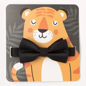 "Детский галстук-бабочка ""Тигр"" 5 х10 см, п/э"