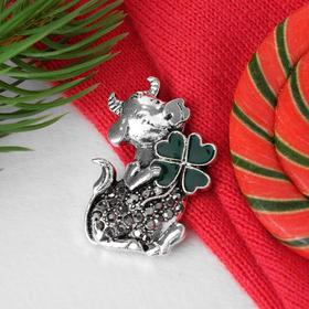 """Brooch """"Cow and clover"""", color is gray-green in blackened silver"""