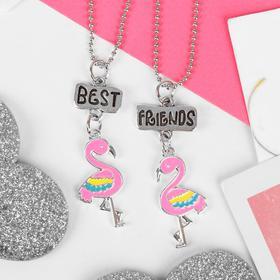 """Кулоны """"Неразлучники"""" фламинго маленькие, 2 цепочки 40см, цветной в серебре"""