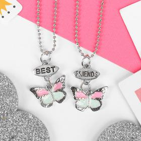 """Кулоны """"Неразлучники"""" бабочки, 2 цепочки 40см, цвет бело-розовый в серебре"""