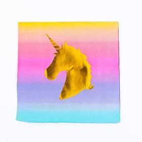 Салфетки бумажные «Золотой единорог», 33х33 см, с тиснением