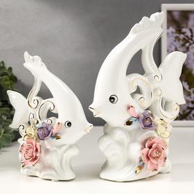 "Сувенир керамика ""Рыбки с розами"" набор 2 шт 17,3х14х6 23,5х17х6,5 см"
