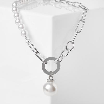Double pearl chain necklace, white in silver