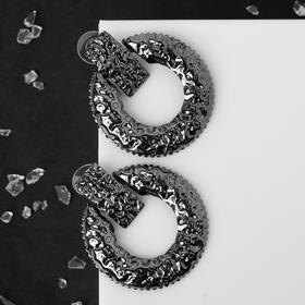 "Earrings metal ""Mint"" circle, color gray"