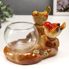 """Souvenir ceramic pot """"Colored sparrows on a log"""" 13x16, 5x12 cm"""