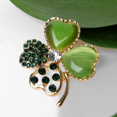 """Brooch """"Clover"""", green-white in gold"""