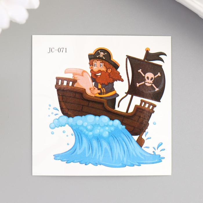"Татуировка на тело цветная ""Пират на корабле"" 6х6 см"