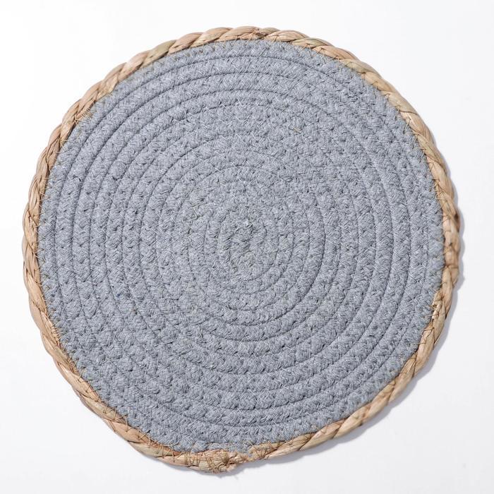 Салфетка плетёная Доляна «Мэг», 25×25 см, цвет голубой - фото 496142