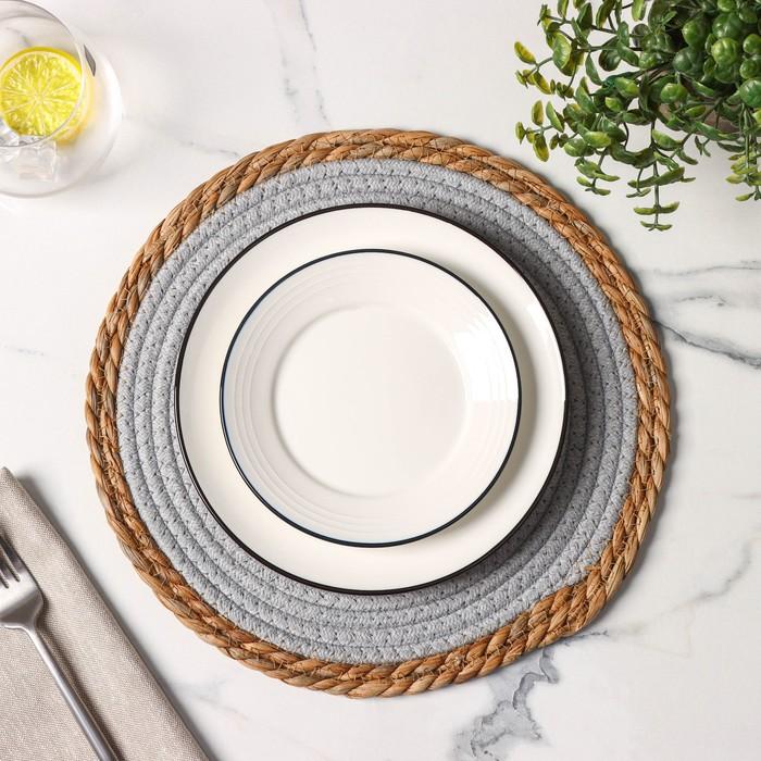 Салфетка плетёная Доляна «Мэг», 30×30 см, цвет голубой - фото 496153
