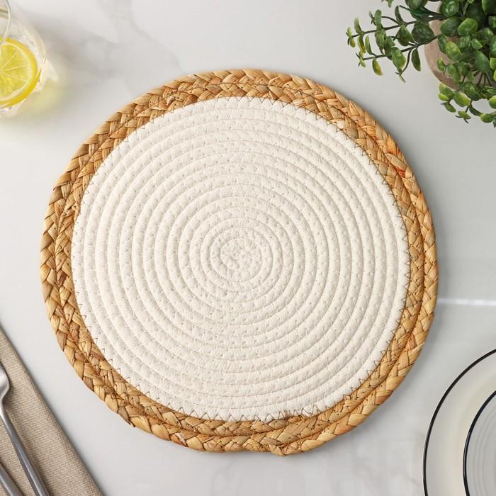Салфетка плетёная Доляна «Мэг», 30×30 см, цвет белый - фото 496157